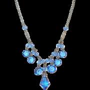 Art Deco Blue Crystal Drop Necklace