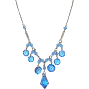 Art Deco Blue Crystal Drop Necklace