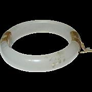 Vintage Jade Hinged Bangle Translucent White 1930's