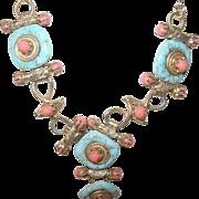 Vintage Necklace Faux Turquoise/Faux Coral High Fashion