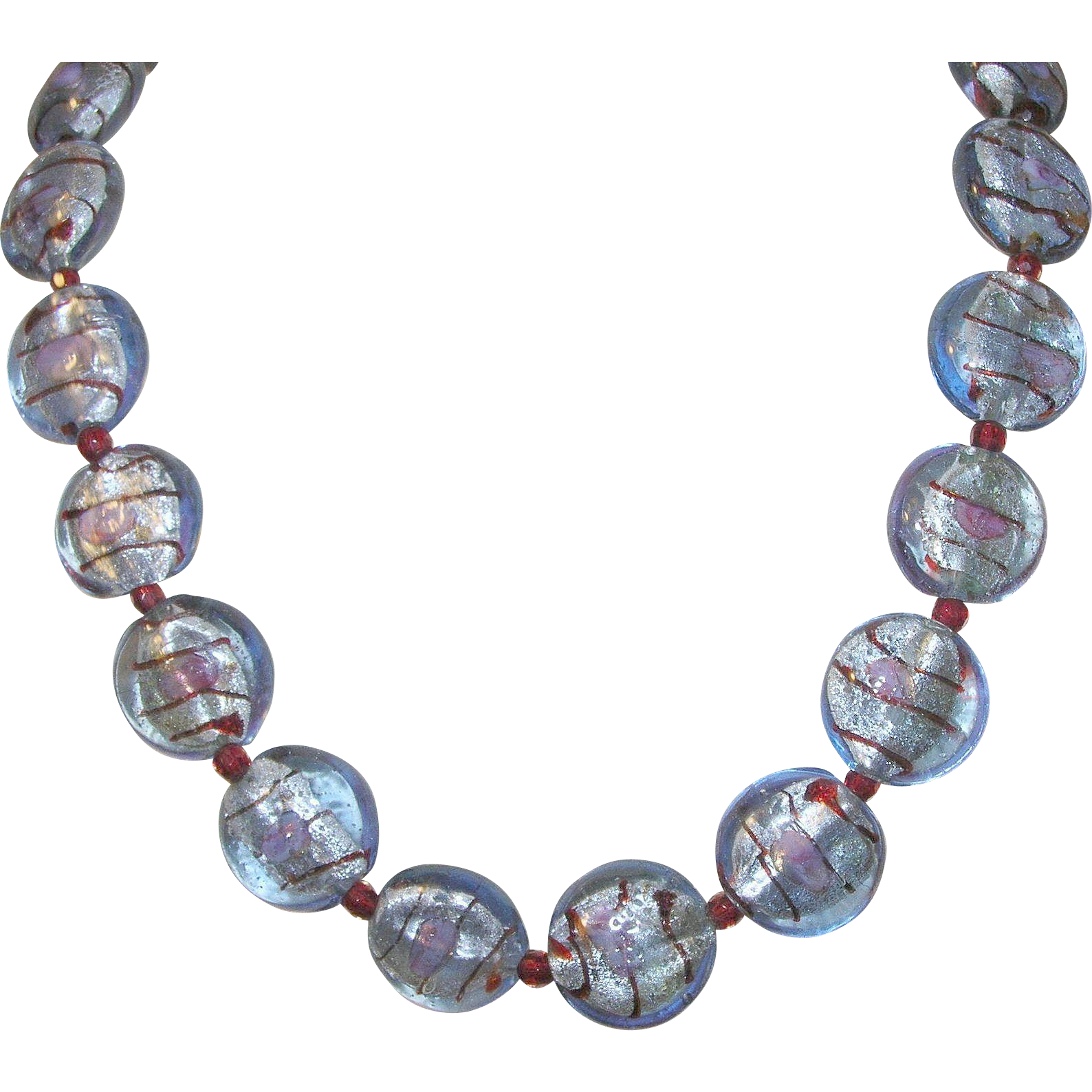 vintage venetian glass bead necklace sterling clasp