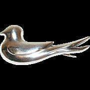 Vintage Sterling Brooch Dove