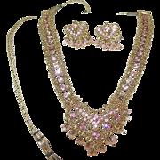 Vintage Sterling/Vermeil Necklace Earring Set Pink Stones
