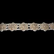 Vintage 835 Coin Silver Link Bracelet Filigree Work