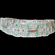 Art Deco Sterling Link Bracelet  Enamel Marcasite by T.H. - Red Tag Sale Item