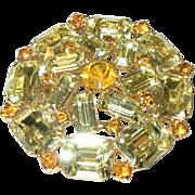 Vintage Weiss Co Brooch Yellow Rhinestone