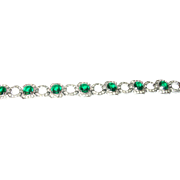 Art Deco Link Bracelet Faux Diamonds/Emeralds
