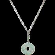 Vintage Sterling Necklace Jade Pendant 1930's