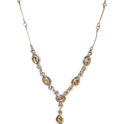 Vintage Sterling Faux Citrine Tear Drop Necklace