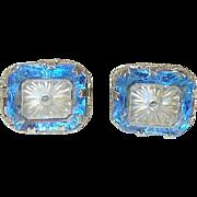 Art Deco Sterling Camphor Glass Earrings Blue/White