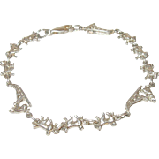 Vintage Sterling Link Bracelet Dogs/Sleds