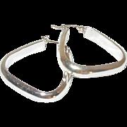 Vintage Sterling Earrings Triangular Hoop
