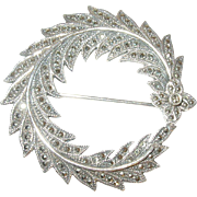 Vintage Brooch Sterling/Marcasite Wreath Design