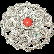 Vintage Brooch 900 Coin Silver Cabochon Coral