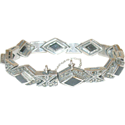 Art Deco Sterling Bracelet Marcasite/Black Onyx Links