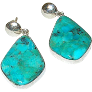 Vintage Drop Earrings Sterling/Turquoise