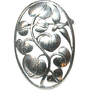Vintage Sterling Brooch Leaf Design