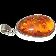 Vintage Pendant Sterling Baltic Amber