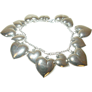 Vintage Sterling Bracelet 14 Puffy Heart Charms