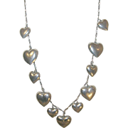Vintage Sterling Necklace 11 Puffy Heart Charms