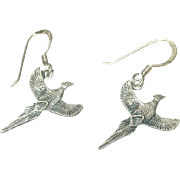 Vintage Sterling Drop Earrings Pheasants