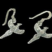 Vintage Sterling Drop Earrings Pheasants