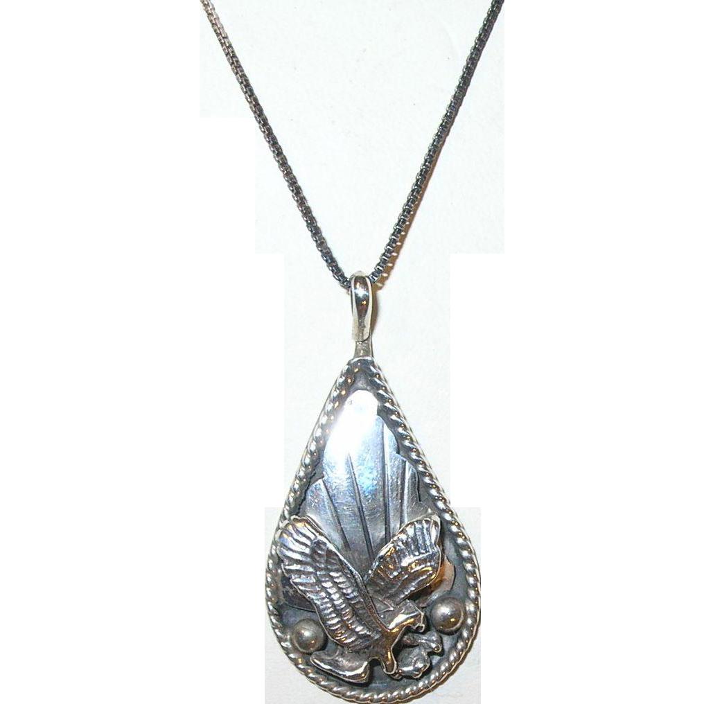 vintage sterling necklace pendant eagle signed from