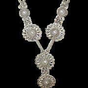 Vintage 800 Coin Silver Necklace Teardrop