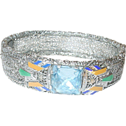 Art Deco Bracelet Hinged Sterling Filigree Enamel 1920's