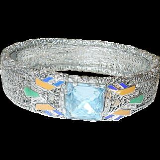 Art Deco Bracelet Hinged Sterling Filigree Enamel 1920's
