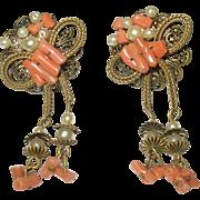 Vintage Drop Earrings Coral Faux Pearls