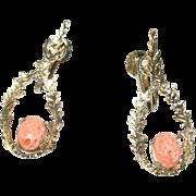 Vintage Sterling Vermeil Coral Drop Earrings