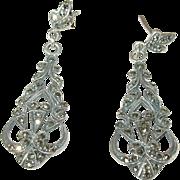 Art Deco Sterling Marcasite Drop Earrings