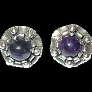 Vintage Earrings Sterling Cabochon Amethyst