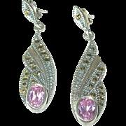 Art Deco Drop Earrings Sterling Marcasite
