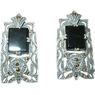 Vintage Sterling Earrings Marcasite by Judith Jack