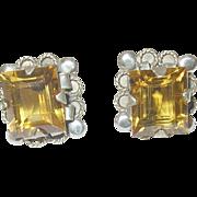 Vintage Sterling Faux Citrine Earrings