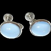 Vintage Sterling Moonstone Earrings by W.R.E