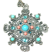Vintage Sterling Coral Turquoise Pendant Openwork