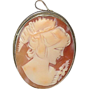 Edwardian 800 Coin Silver Brooch/Pendant Shell Cameo