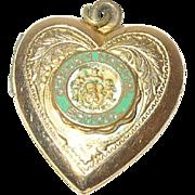 Vintage Gold Filled Heart Locket Gorham Normal School