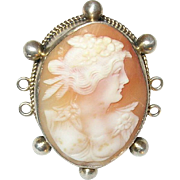 Antique Pendant Sterling Shell Cameo 1860's