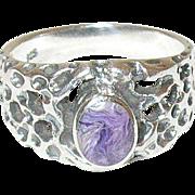 Vintage Sterling Amethyst Ring Openwork