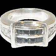 Vintage Ring Sterling Belt Buckle Design Faux Stones
