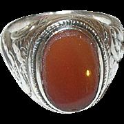 Edwardian 800 Coin Silver Ring Carnelian
