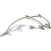 Vintage Brooch Sterling Double Dolphin