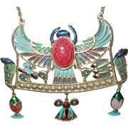 Vintage Di Orios Massive Egyptian Revival Glass Scarab Necklace