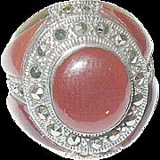 Vintage Sterling Marcasite Carnelian Ring