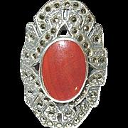 Art Deco Ring Sterling Marcasite Carnelian