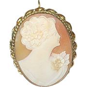 Vintage Lg Shell Cameo Brooch Pendant Gold Filled